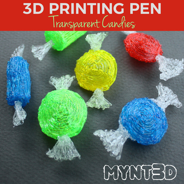 3D printing pen transparent filament candy pieces tutorial | DIY Holiday classic peppermint craft ideas from MYNT3D | Best gift idea for artists and crafters