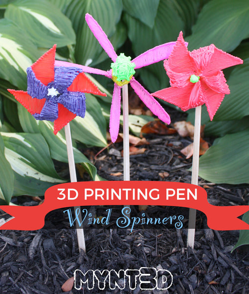 3D printing pen wind spinners summer craft project idea with free template stencil from MYNT3D | great activity for boys, girls, camp, STEM STEAM learning moving parts, simple machines wind mill