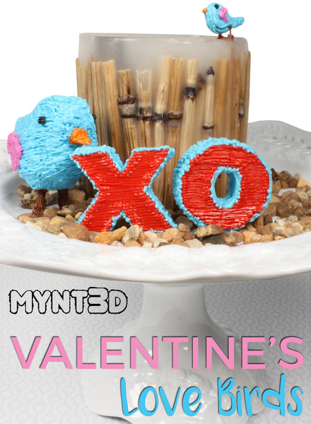 3D printing pen love birds Valentine Holiday art -use the free printable project template from MYNT3D Great decorations for a Valentine party