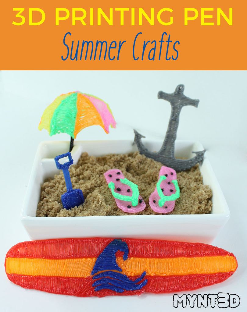 Summer crafts like boat anchor, surf board, beach umbrella, sand shovel, watermelon flip flops all made with the MYNT3D printing pen, go to the projects page on the website to download the free template