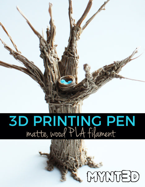 PLA wood filament captures the look and feel of nature with a matte finish. Make trees, stumps, logs, wood products and even animal fur with this specialty 3D printing pen filament from MYNT3D
