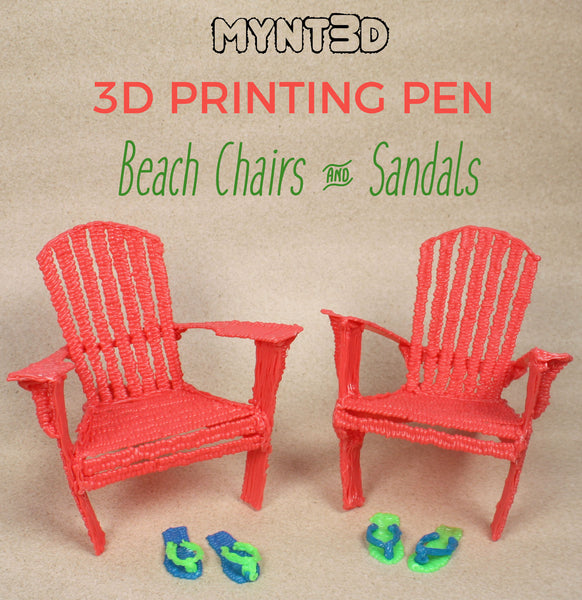 DIY miniature beach chairs and sandals made with a 3D printing pen | Download the free template stencil from MYNT3D | Classroom activity for students engineering technology crafts for camp ideas