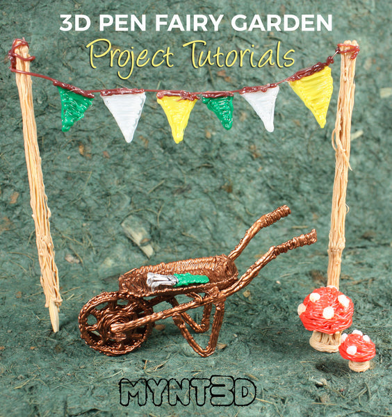 3D printing pen fairy garden project tutorials -use the free printable project template from MYNT3D woodland decorations for dollhouse miniature, classroom activity
