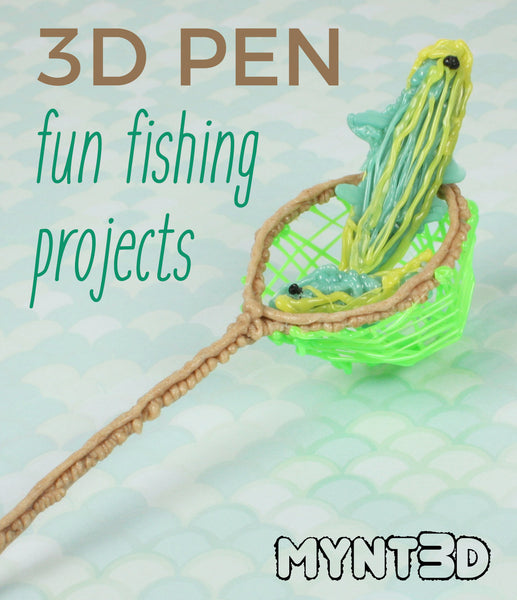 3D printing pen camping canoe crafts and summer camp ideas for kids and students - canoes, oars, fish, fishing net free printable project template for family fun, vacation souvenir classroom activities