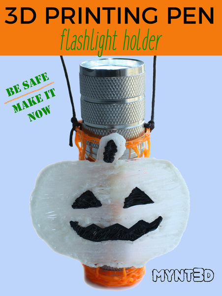 Safety first this Halloween with a DIY flashlight holder for trick or treating. Get the 3D pen project instructions at MYNT3D. Download the free template for adding pumpkins or ghosts decorations to your craft