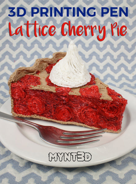 3D printing pen realistic fake food lattice cherry pie project | Patriotic desserts and craft ideas for Memorial Day, Flag Day, Fourth of July with free printable project template and video tutorial
