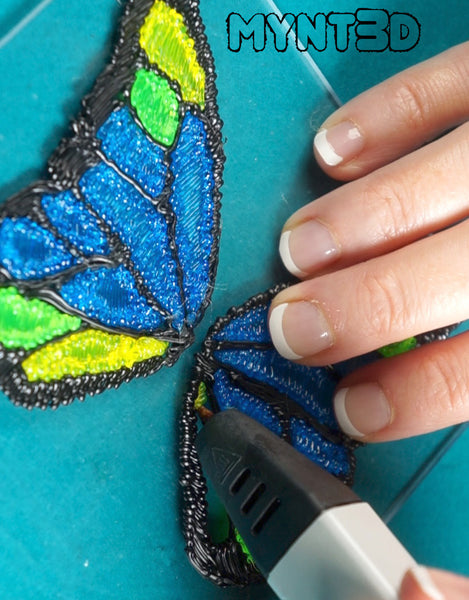 3d printing pen butterfly free project template stencil from Mynt3D garden art