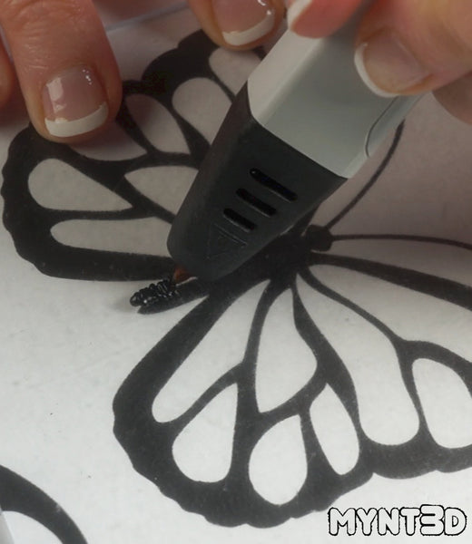 Butterfly and dragonfly projects made with a 3D printing pen | Free project template, instructions and tutorial from MYNT3D