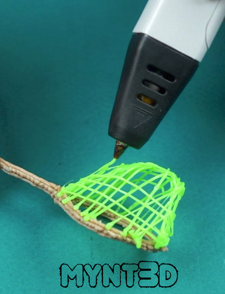 3D printing pen fishing net craft using PLA wood filament and ABS filament | Free project printable template from MYNT3D