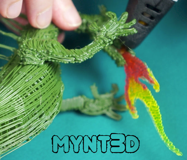 3D pen flames using PETG translucent filament from MYNT3D | Color gradation ombre effect changing filament colors | Tips and techniques with a 3D pen dragon