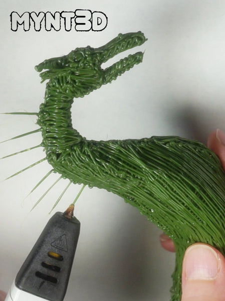 Spiked Spine dragon made with a 3D printing pen | MYNT3D pen project tutorial includes free template stencil and video instructions | Great project for Game of Thrones fans
