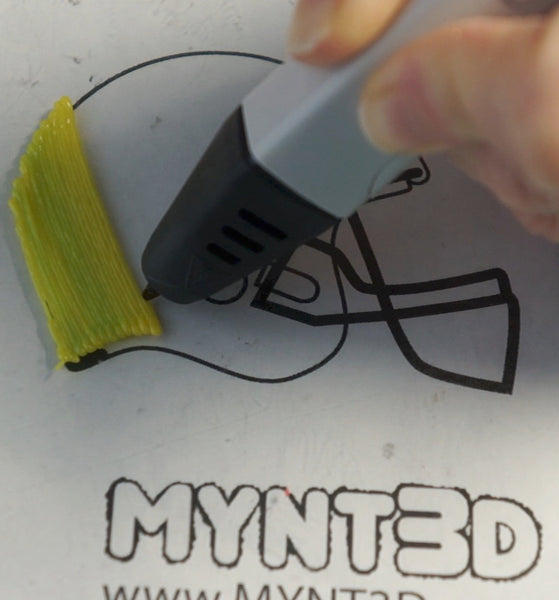 Beginner 3D pen project easy football helmet made using a FREE printable project template stencil - go to MYNT3D blog to get all 5 Super Bowl party project tutorials