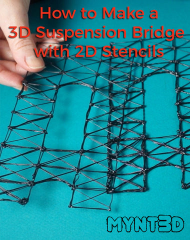 how to construct a 3D model bridge using 2D stencils drawing and connected with a 3D printing pen | Great learning tool for engineering demonstrations and class lessons