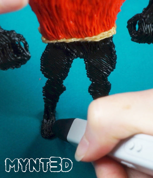 3D printing pen STEM STEAM projects for kids | Mr. Incredible action figure drawing activity and step by step tutorial with free stencil templates from MYNT3D