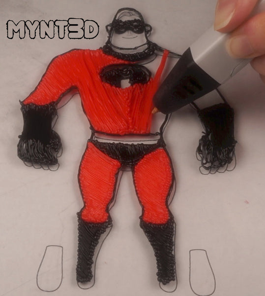 3d pen template action figures Mr. Incredible superheroes drawing tutorial
