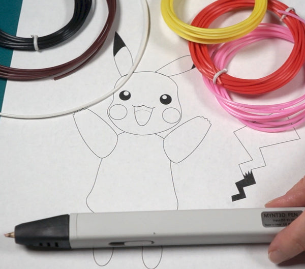 Pokemon Go pikachu project made with the MYNT3D printing pen supplies