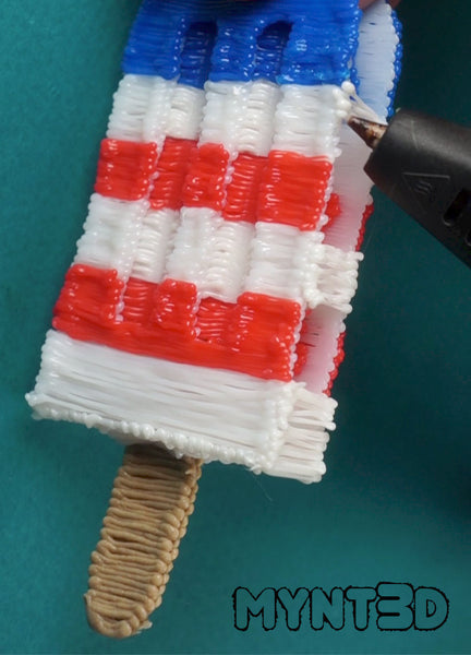 3D pen popsicle project tutorial from MYNT3D with free template stencil. 2 Patriotic desserts to make for flag day and the fourth of July