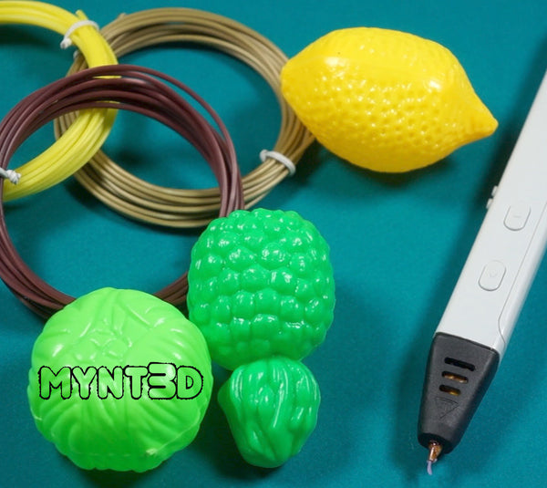 Supplies needed to make a 3D printing pen rainbow unicorn head: MYNT3D pen, ABS filament, plastic forms and scissors