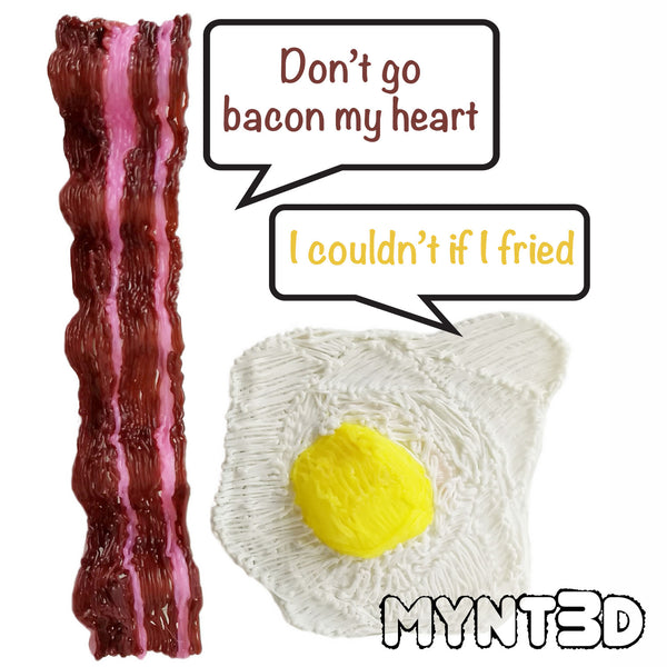 Bacon and egg humor meme for International Bacon Day - made with the MYNT3D printing pen