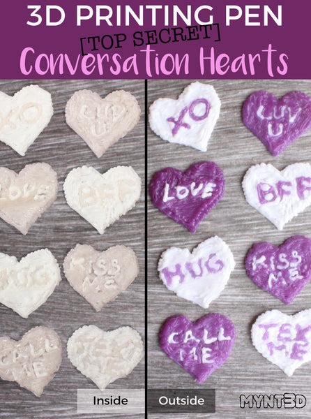 3D printing pen Valentines candy alternative conversation hearts that change colors when exposed to sunlight. Get all 5 3d pen project templates to made DIY decorations, classroom Valentines for students and gifts for friends from MYNT3D