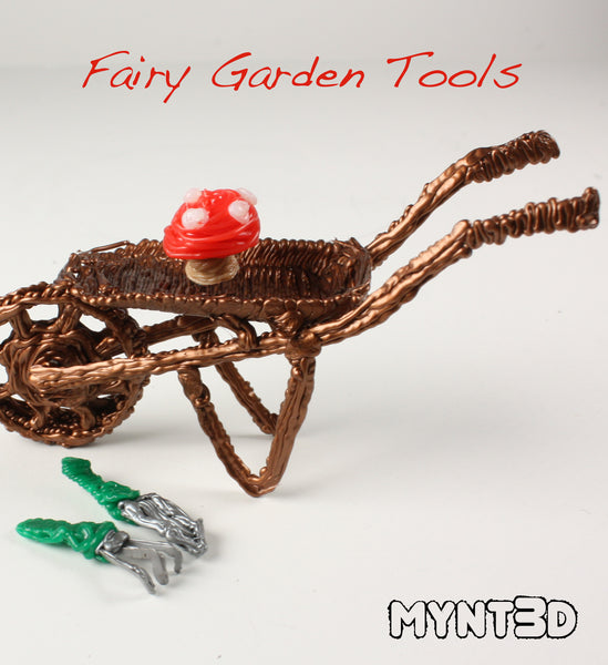 DIY fairy garden tools made with a 3D printing pen | small hoe and hand rake for gnome or woodland habitat | easy craft projects for kids for Spring and Summer