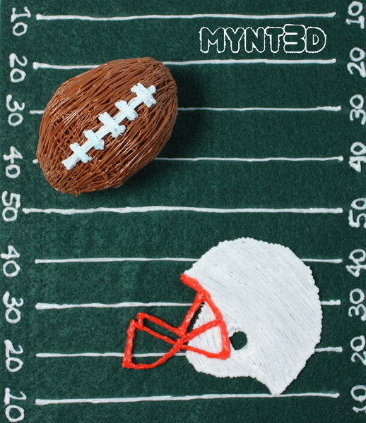 3D printing pen football art helmet and field project template can be made into game day decorations for a Super Bowl party