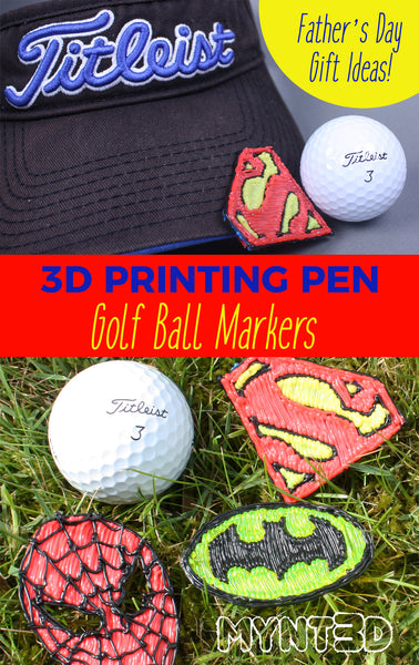 3d printing pen father's day gift ideas | Download the free template stencils for Superman, Batman and Spiderman to make gold ball markers | Great beginner project ideas