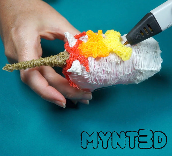Create an ombre rainbow effect with 3D pen filament on the DIY unicorn mane. Learn how from MYNT3D