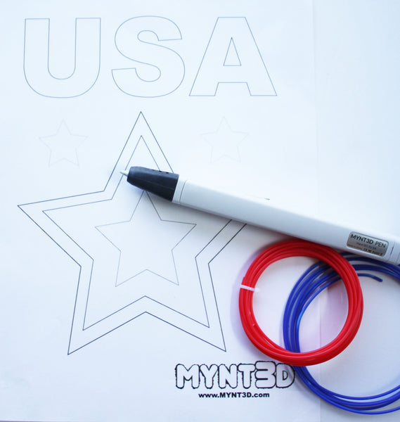 Make many Patriotic 3D printing pen projects using the MYNT3D pen and the free downloadable design template