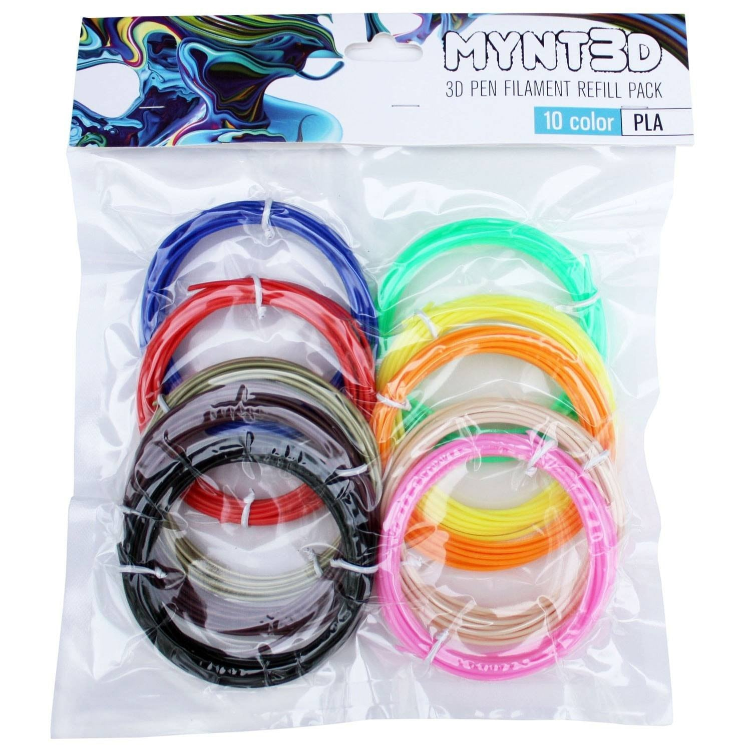 PLA Filament Refill Pack (10 color, 3m Each)