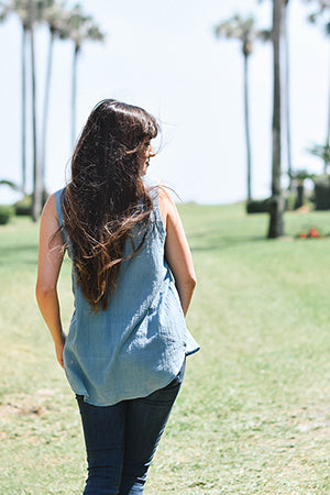 Natalie Kay Sustainably Chic with palm trees in ayurvedic indigo top