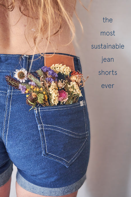 naturally plant-dyed organic cotton denim women's clothing, jean shorts, bottoms, dyed with indigo leaves