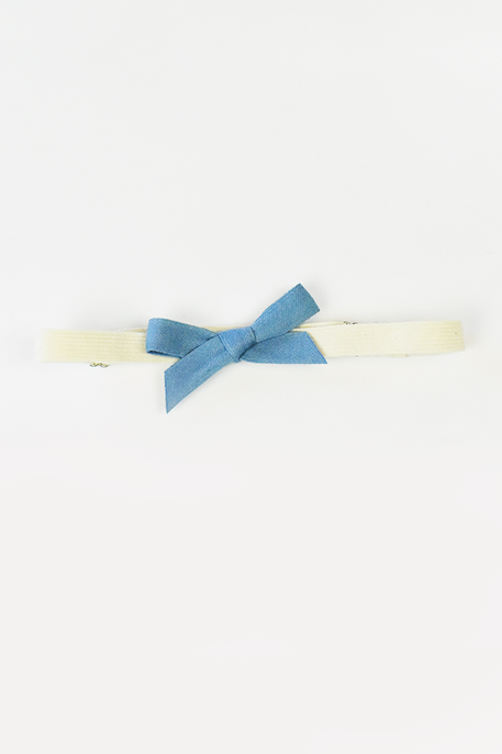 naturally plant-dyed organic cotton kid's clothing, baby hair bow hair band natural rubber elastic dyed with indigo