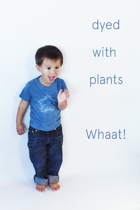 naturally plant-dyed organic cotton kid's clothing, toddler, baby, onesie, tee shirt, dyed with indigo