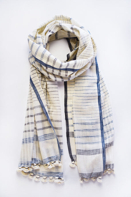 naturally plant dyed organic women's clothing, organic cotton scarf shawl, dyed with indigo and myrobalan