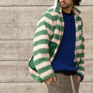 Sherpa Jacket // Striped Green + Pink