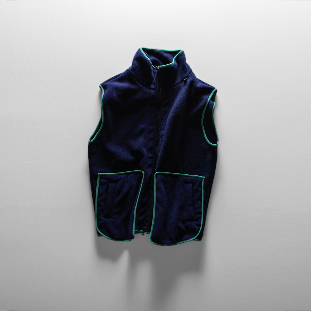 Full zip Fleece Vest // Navy