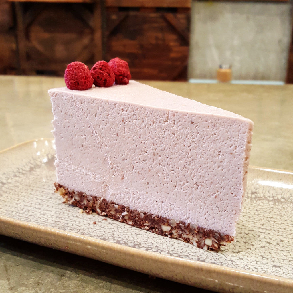 Raspberries Cheesecake - Raw Trader Cafe