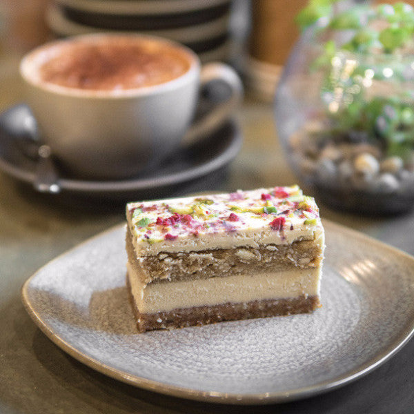 White Chocolate and Salted Caramel Cake - Raw Trader Cafe