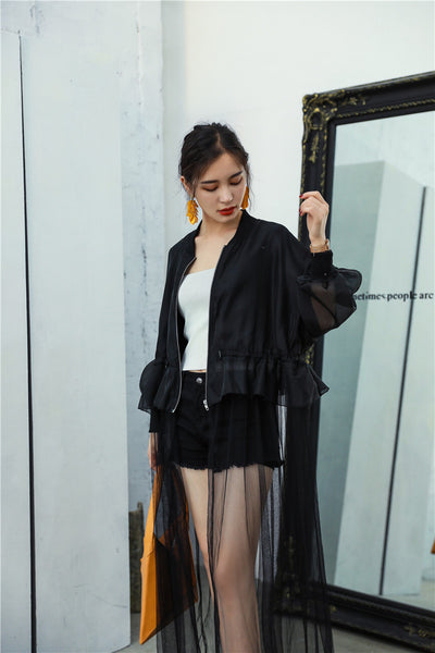 Black Tulle Long Bomber Jacket