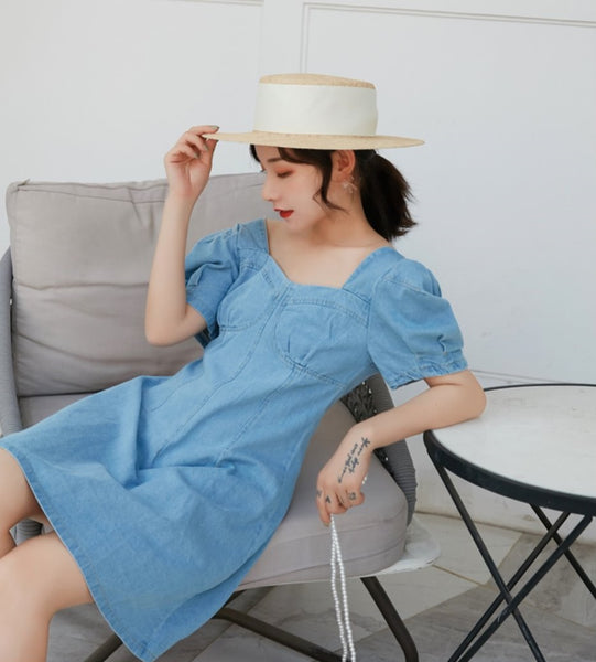 Denim Mid Length Dress