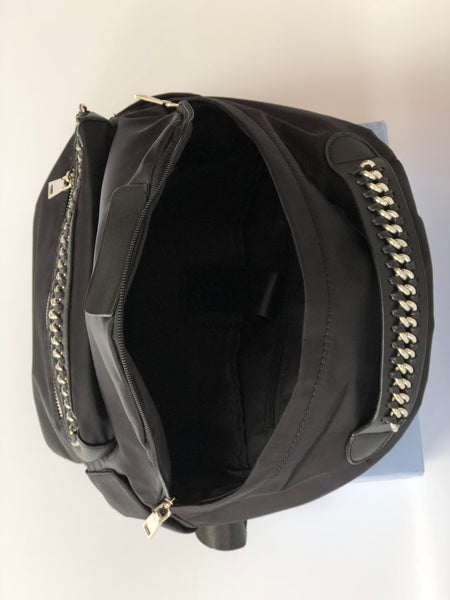 Black Inter Chain Link Back Pack