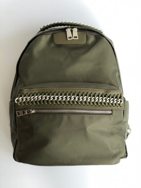 Army Green Inter Chain Link Back Pack