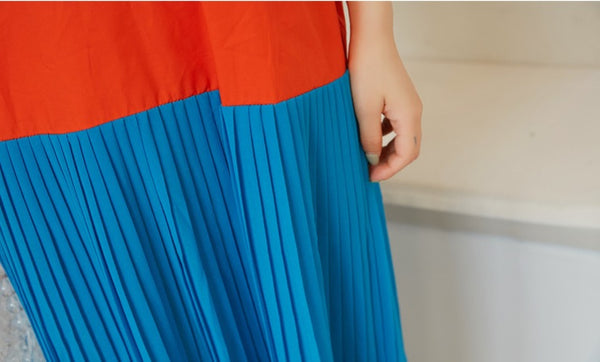 LightWeight Sunrise Colour Pleat Dress