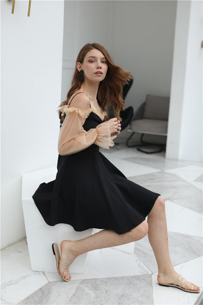 Little Black Smock Dress with Inner mesh