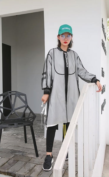 Mesh White Double Lay Long OuterWear