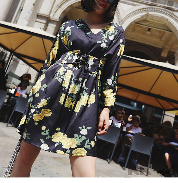 Satin Silk Yellow Flora Print Dress