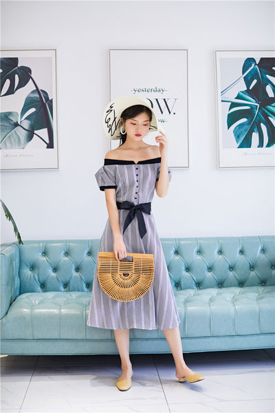 Vintage Off Shoulder English Dress