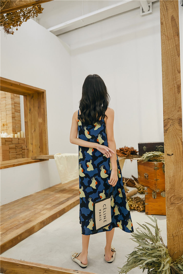Parrot Print Sleeveless Dress