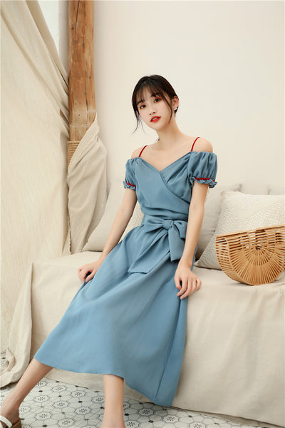 Blue Front V Off Shoulder Dress